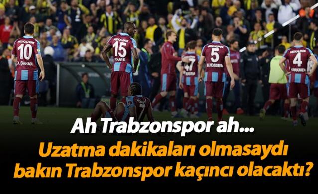 Süper Lig'de uzatma dakikaları olmasaydı Trabzonspor kaçıncı olurdu?