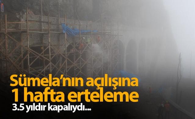 Trabzon'un Maçka ilçesi Altındere Vadisi'nde bulunan ve restorasyon çalışmaları nedeniyle 3,5 yılı aşkın süredir ziyarete kapalı olan Sümela Manastırı açıklanan tarihten 1 hafta rötarlı ziyarete açılacak. Daha önce 18 Mayıs 2019'da ziyarete açılacağı açıklanan manastırda elverişsiz hava şartları nedeniyle çalışmalar aksayınca ziyarete açılış tarihi 25 Mayıs 2019 tarihine ertelendi.