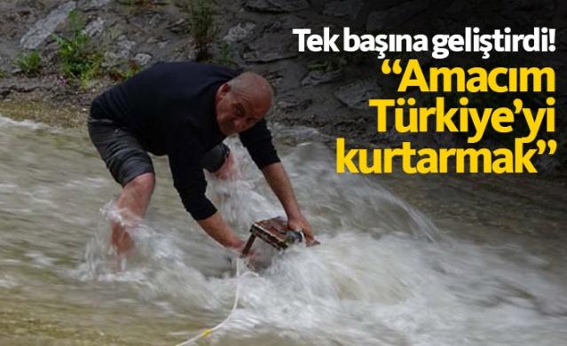 Bursa'da yaşayan elektrik teknisyeni; geliştirdiği sistemin portatifini Gökdere'de azgın suların altına koyarak enerji üretti.