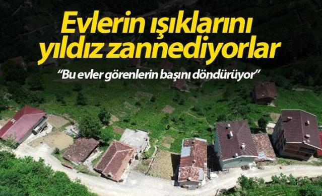 Karadeniz'de, dik ve engebeli arazi nedeniyle yapılaşma güçlüğüne rağmen yamaçlarda ev ve binalar inşa edilmeye devam ediliyor.