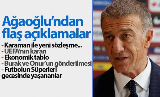 """Trabzonspor Başkanı Ahmet Ağaoğlu önemli açıklamalar yaptı. Başkan Ağaoğlu, """"Mali anlamda yapılandırmayı gerçekleştirirsek ancak 10-12 seneye borçların sıfırlanması sağlanır. Başarıya sıra gelirse birkaç futbolcu transfer ederek şampiyon olabilirsiniz ama Trabzonspor'da sürdürülebilir başarıyı konuşuyorsak bunun bir dört senesi var"""" dedi."""