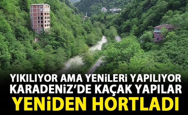 Yurt genelinde 31 Aralık 2017'den önceki kaçak yapılara af getiren 'İmar Barışı' uygulamasına 1 milyona yakın başvurunun yapıldığı Karadeniz Bölgesi'nde, yaz aylarıyla birlikte yaylalara çıkanlar, milli park, doğal sit ve mera alanlarına, tüm koruma tedbirlerine rağmen kaçak yapılar inşa etmeyi sürdürüyor. Kaçak yapıları sıkı takibe alan valilikler de bir yandan yeni yıkım kararları alıyor. Trabzon'un Araklı ilçesinde sık ormanla kaplı yeşil doğanın içerisinde 7 yıl önce inşa edilmiş 8 katlı kaçak tuğla bina, oluşturduğu görüntü kirliliği ile dikkat çekiyor.