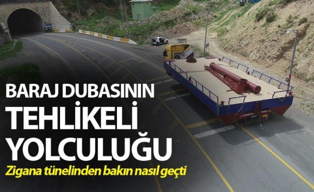 Trabzon'da baraj dubasının tehlikeli yolculuğu.