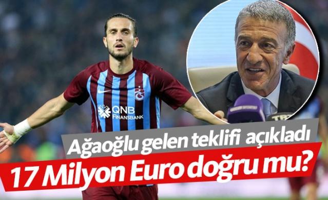 """Trabzonspor Başkanı Ahmet Ağaoğlu, Yusuf yazıcı için gelen teklifin 13+2 milyon Euro olduğunu ve teklifi reddetiklerini açıkladı. Ağaoğlu, """"Yusuf için 20 milyon Euro istiyoruz"""" dedi."""