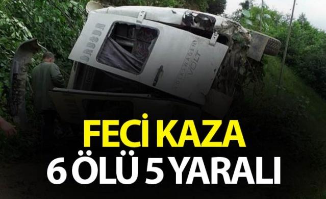 Giresun'da minibüs şarampole yuvarlandı - 6 Ölü 5 yaralı