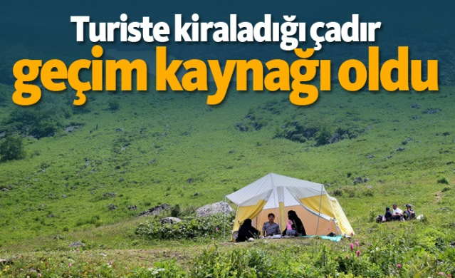 Trabzon'un Çaykara ilçesi Demirkapı Yaylası'ndaki arazisine kurduğu boş çadırı bir günlüğüne isteyen Arap turiste kiralayan Remzi Yıldız, sayısını 10'a çıkardığı çadırlara gelen talepleri karşılamakta zorlanıyor.