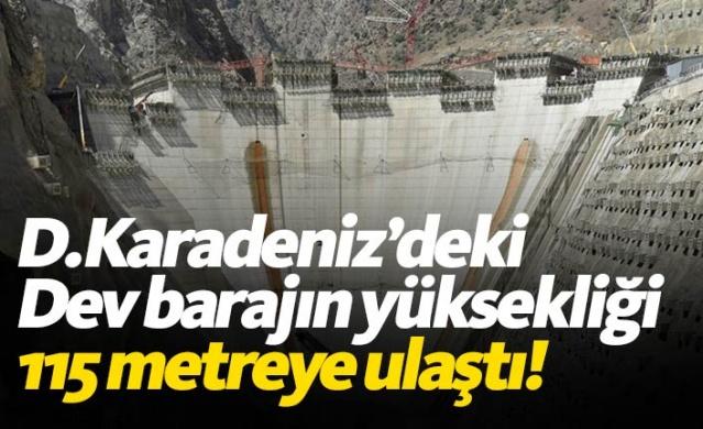 Tamamlandığında dünyanın en yüksek üçüncü barajı olacak Yusufeli Barajı'nın gövde yüksekliğinde 115 metreye ulaştı.
