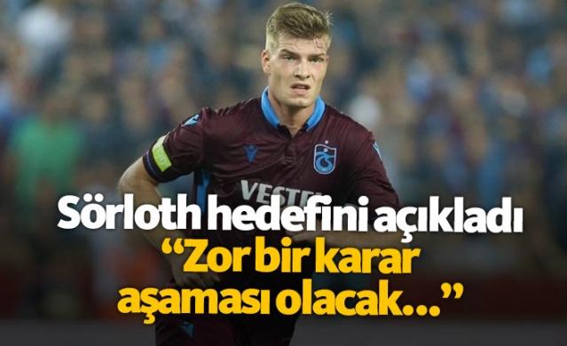 """Trabzonspor'da iyi bir başlangıç yapan Alexander Sörloth, Premier Lig'e dönme hedefinin olduğunu ancak şu anda bordo-mavilileri düşündüğünü belirtip, """"Trabzonspor için elimden geleni yaparak, goller atmak ve kupalar kazanmak istiyorum"""" yorumunu yaptı."""