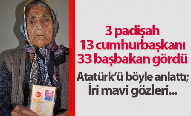 Osmanlı Devleti'nin son dönemlerinde dünyaya gelen Fatma Traş, doğduğu günden bugüne kadar 3 padişah, 12 cumhurbaşkanı ve 33 başbakan gördü. Fatma nine 110 yaşında olmasına rağmen ev, bağ ve bahçe işlerini kendisi yapıyor.