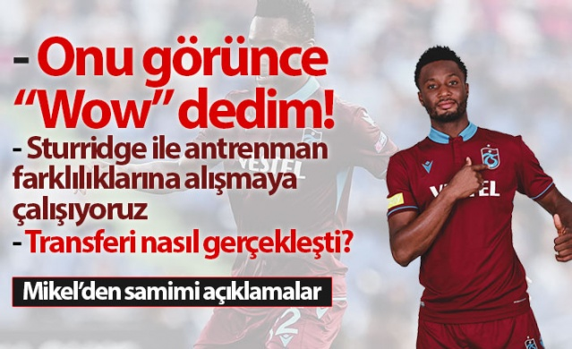 Trabzonspor'un yıldıoz ismi Obi Mikel Trabzonspor dergisine önemli açıklamalarda bulundu.  Trabzonspor'a başarıların bir parçası olmak için geldiğini söyleyen Mikel, sorulara içtenlikle cevap verdi. İşte Mikel ile yapılan o röportaj :