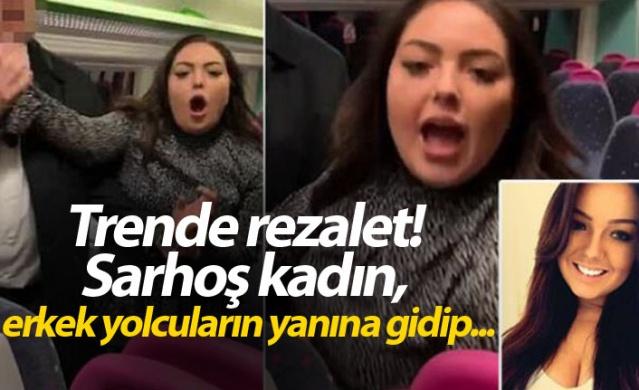 Trende rezalet! Sarhoş kadın, erkek yolcuların yanına gidip...