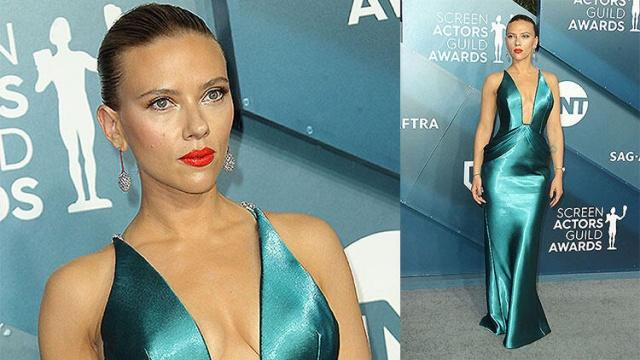 Oscar öncesi son büyük sinema ödülleri olan 26. SAG Ödülleri geçtiğimiz akşam sahiplerini buldu.  Scarlett Johansson  Scarlett Johansson, gecenin en beğenilen isimlerinden biri oldu. Kırmızı dudaklarından yine vazgeçmeyen Johansson'ın deniz mavi saten elbisesi Armani Privé imzalıydı.