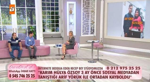 Sosyal medyadan tanışıp evlendiği eşi yine sosyal medya üzerinden tanıştığı başka biriyle kaçan 23 yaşındaki Recep Özsoy, Esra Erol'da programına katılarak yardım istedi. Özsoy, eşini affetmeye hazır olduğunu söyleyerek gözyaşlarına boğulmasına rağmen sosyal medyada paylaşılan videoyu izleyince adeta darmadağın oldu.