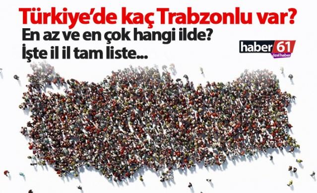 Türkiye'de kaç Trabzonlu var? İşte il il dağılım