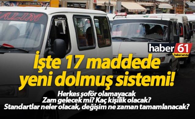Haber61 Haber Servisi  Trabzon'da yıllardır kullanılan dolmuş sistemi bugün itibariyle değiştirildi.