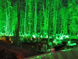 Mezarlık ışıklarla donatıldı