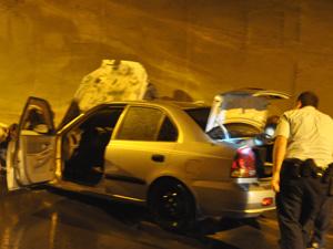 Araklı Tüneli'nde otomobilde yangın