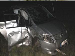 Ağrı'da otomobil şarampole yuvarlandı