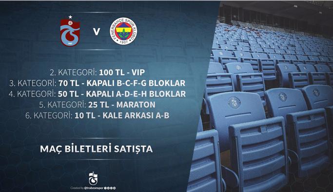Trabzonspor Fenerbahçe maçının biletleri satışa çıktı