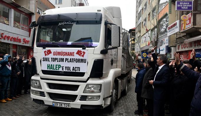 Gümüşhane'de Halep'e yardım