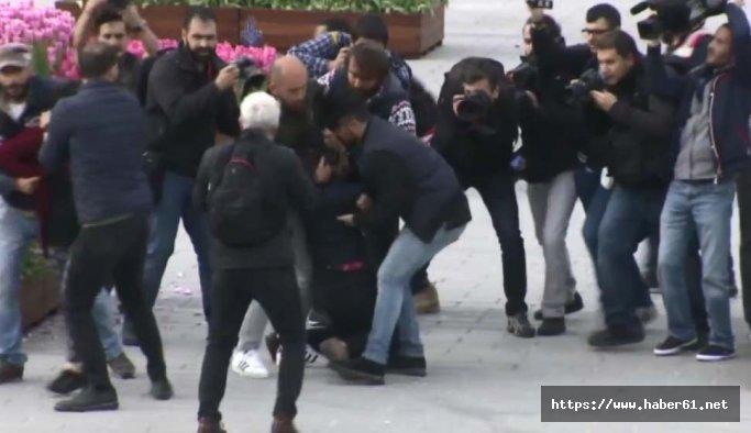 Taksim'de pankart açan 2 kadına gözaltı