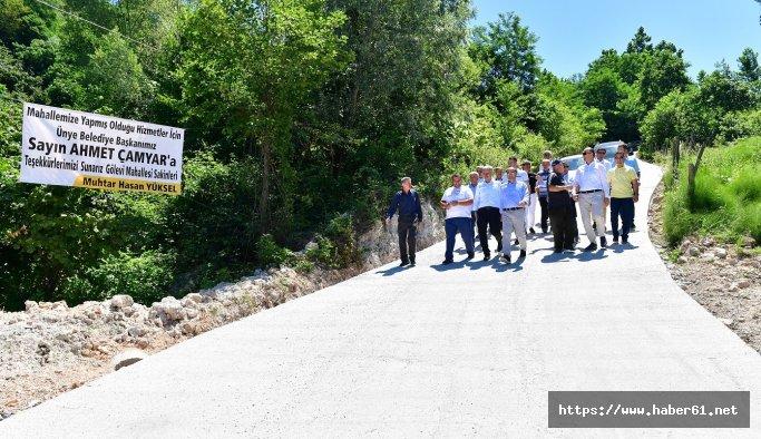 Çamyar'dan vatandaşlara fındık ocaklı yol sitemi