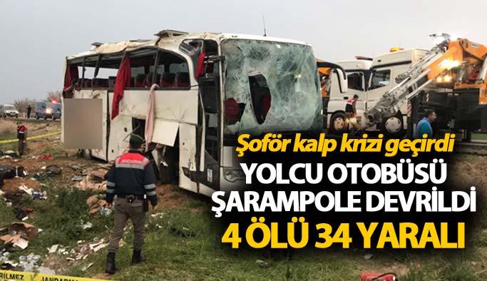 Yolcu otobüsü şarampole devrildi: 4 ölü 34 yaralı