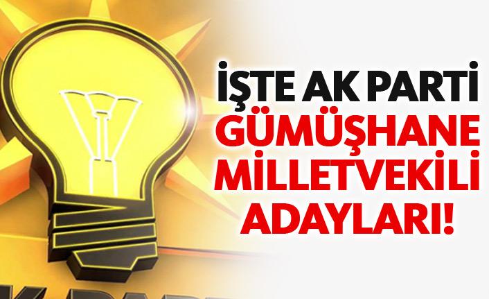 AK Parti Gümüşhane 24 Haziran 2018 milletvekili adayları listesi... İşte adaylar