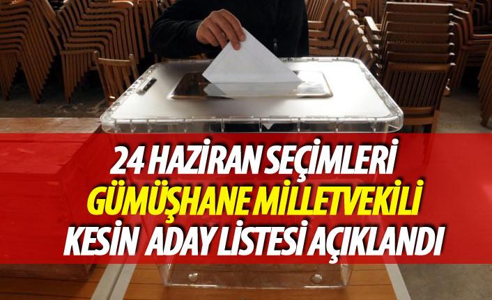 24 Haziran 2018 seçimi Gümüşhane milletvekili kesin aday listesi açıklandı