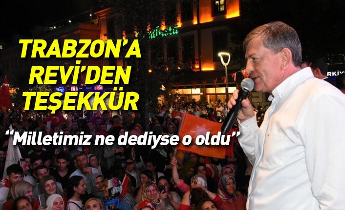 Haydar Revi'den Trabzon'a teşekkür