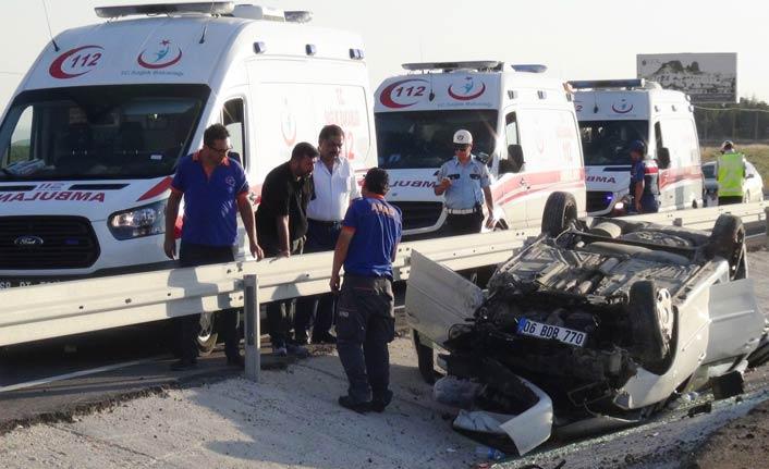 Otomobil takla attı: 5'i çocuk 9 yaralı