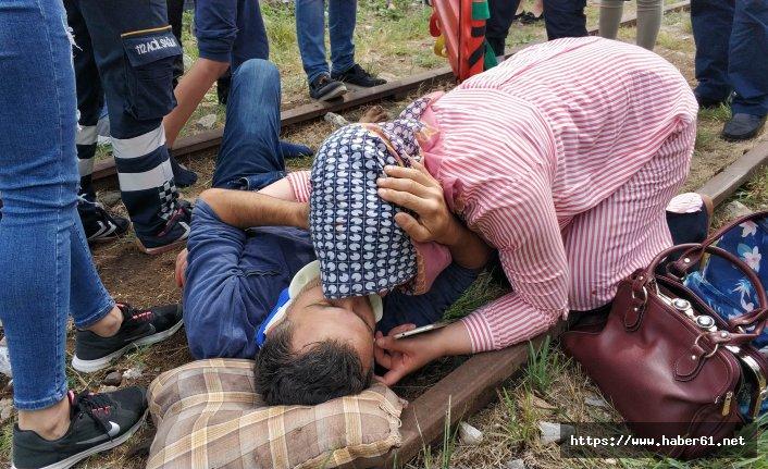 Kazada yaralanan eşini böyle teselli etti
