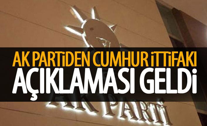 AK Parti'den son dakika 'Cumhur İttifakı' açıklaması
