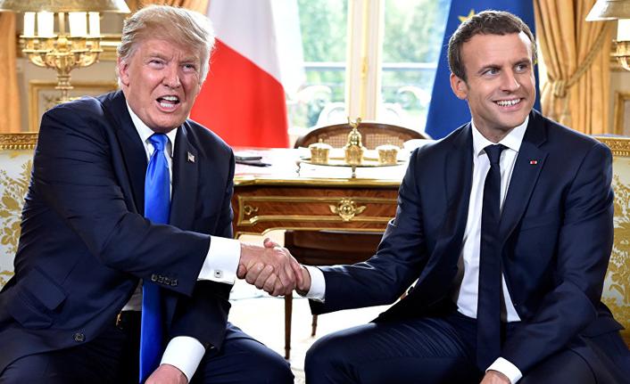 Macron ile Trump Fransa'da görüştü