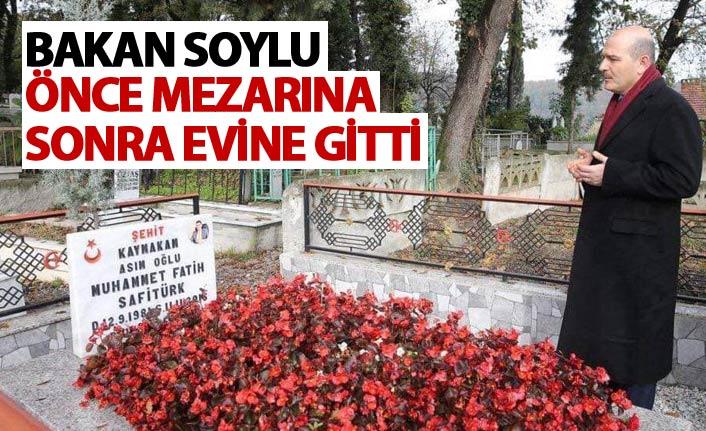 Bakan Soylu önce mezarına sonra evine gitti