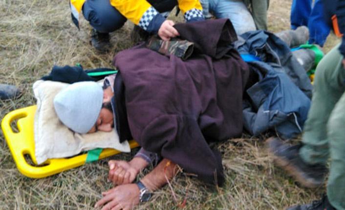 Yaralanan çoban uzun uğraşlar sonucu kurtarıldı