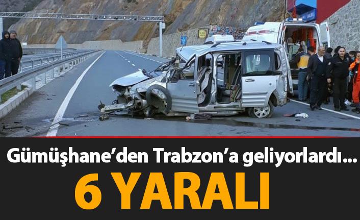 Gümüşhane'den Trabzon'a gelirken kaza yaptılar! 6 YARALI