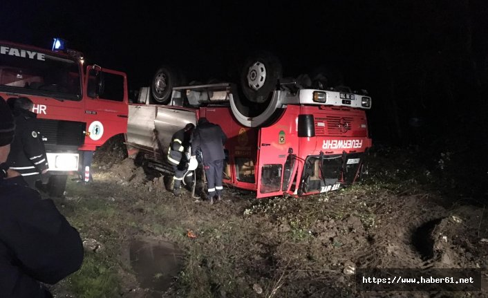itfaiye aracı göreve giderken kaza yaptı!