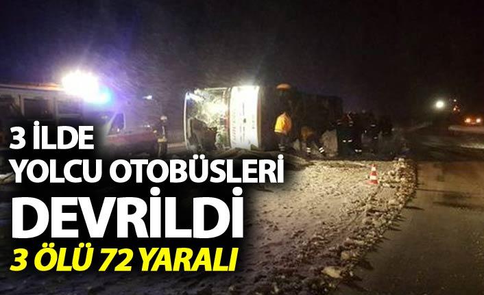 3 ilde can pazarı - Yolcu otobüsleri devrildi 3 ölü, 72 yaralı