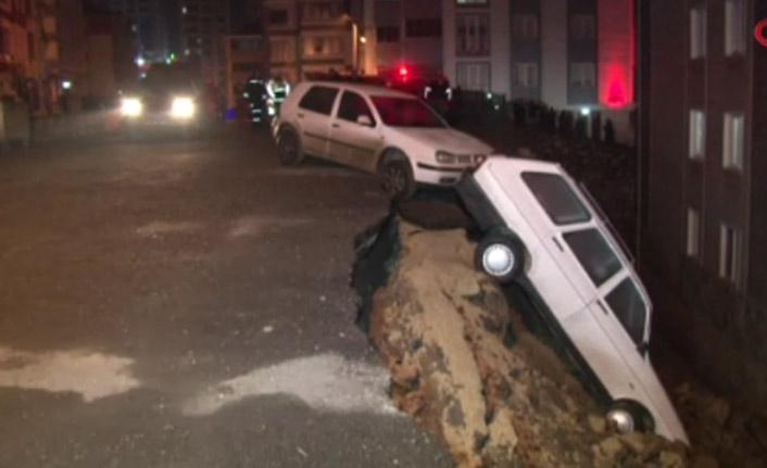 İstinat duvarı çöktü 4 araç bahçeye uçtu