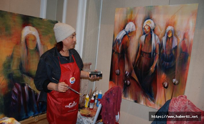 Trabzonlu ressamın İmzası peştemal!