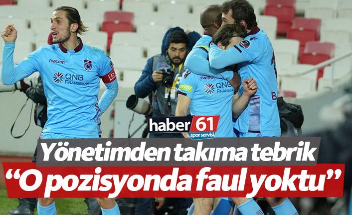 Trabzonspor yönetiminden takıma tebrik