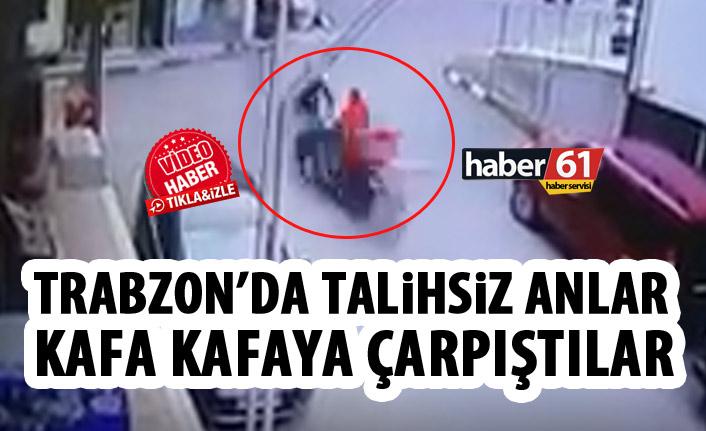 Düzköy'de talihsiz an! Kafa kafaya çarpıştılar!