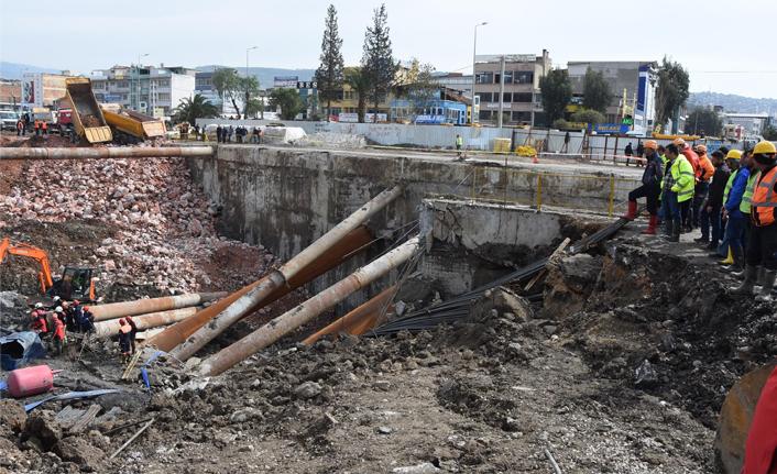 İzmir Metro otopark inşaatındaki göçükte bir kişinin cansız bedenine ulaşıldı