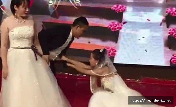 Gelinlik giyen eski sevgili düğünü bastı