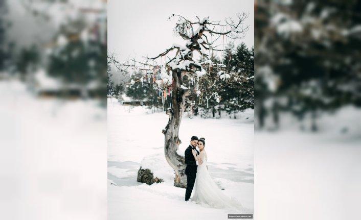 Eksi 10 derecede düğün fotoğrafı
