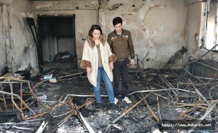 Uyurken evleri yanan aile ölümden döndü