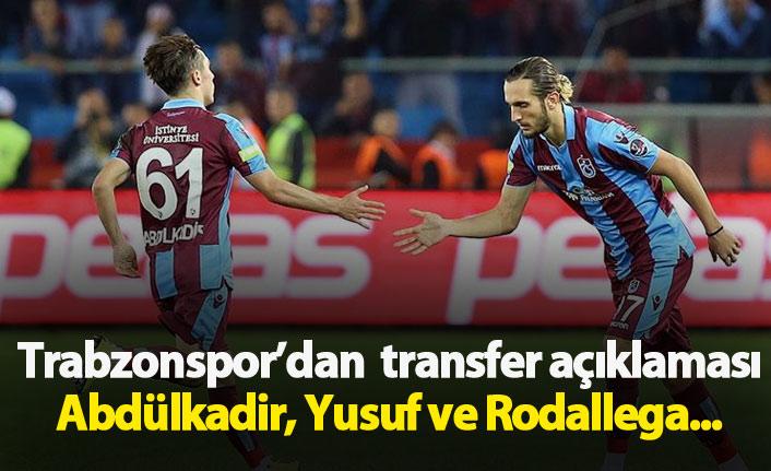 Trabzonspor'dan Yusuf, Abdülkadir ve Rodallega açıklaması