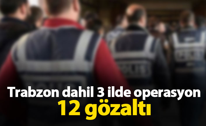 Trabzon dahil 3 ilde operasyon 12 gözaltı
