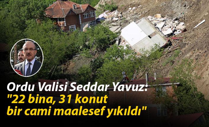 """Ordu Valisi Seddar Yavuz: """"22 bina, 31 konut ve bir cami maalesef yıkıldı"""""""